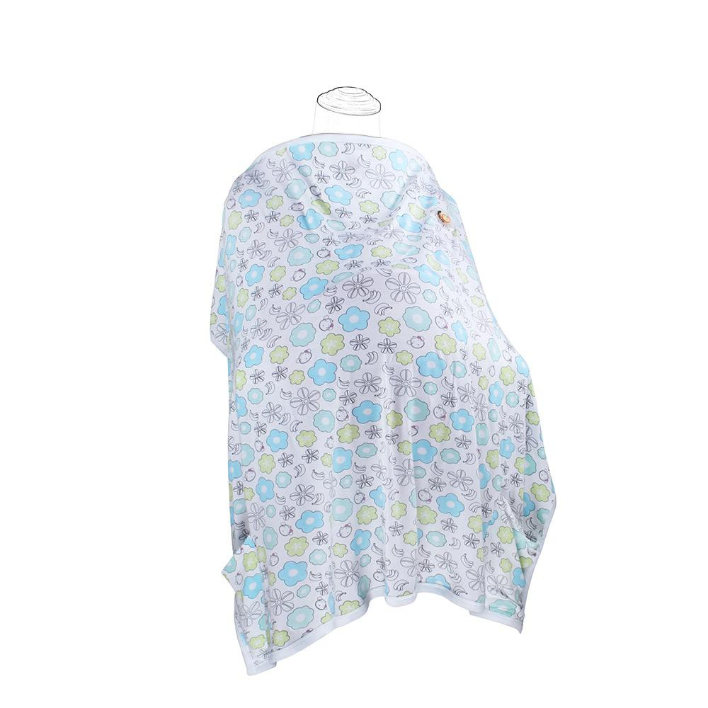 DooDooMooky Bamboo Nursing Cover Apron Type Adjustable size Mooky Flower White with Blue & Green Flower