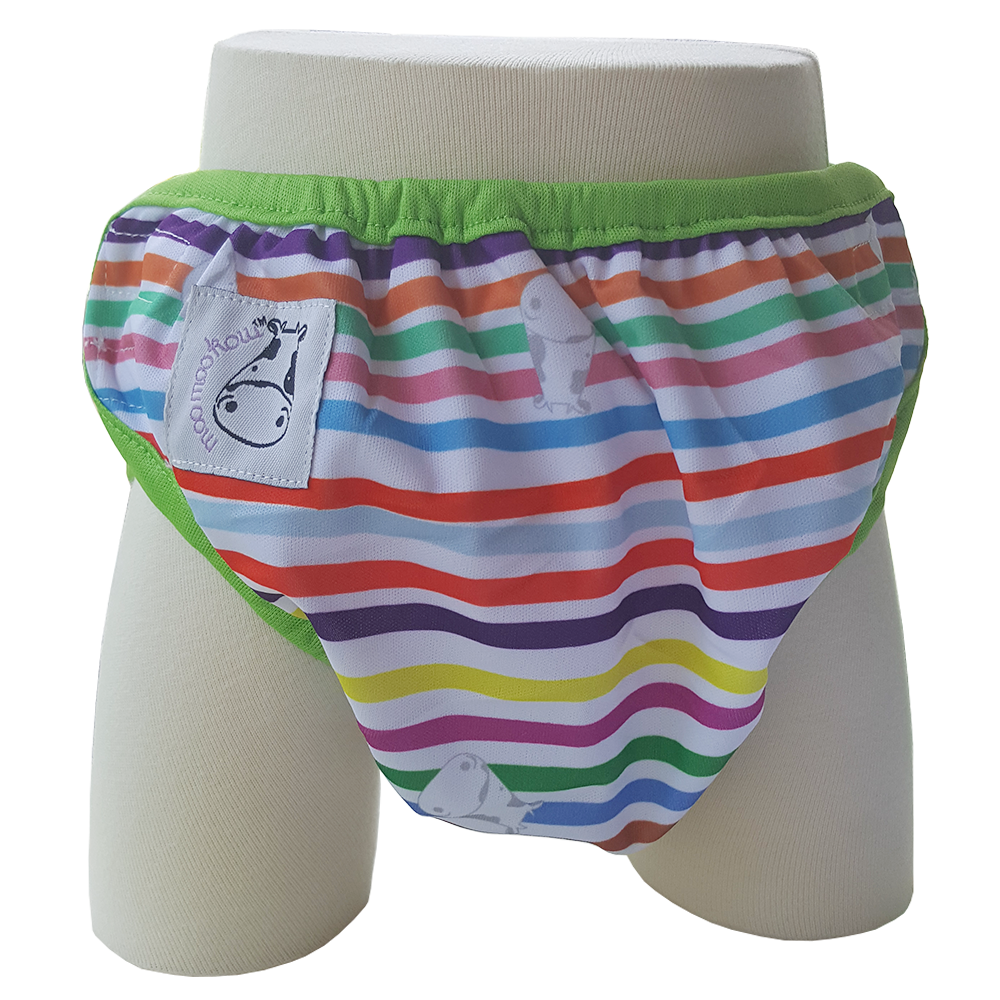 One Size Swim Diaper Rainbow with Green Border