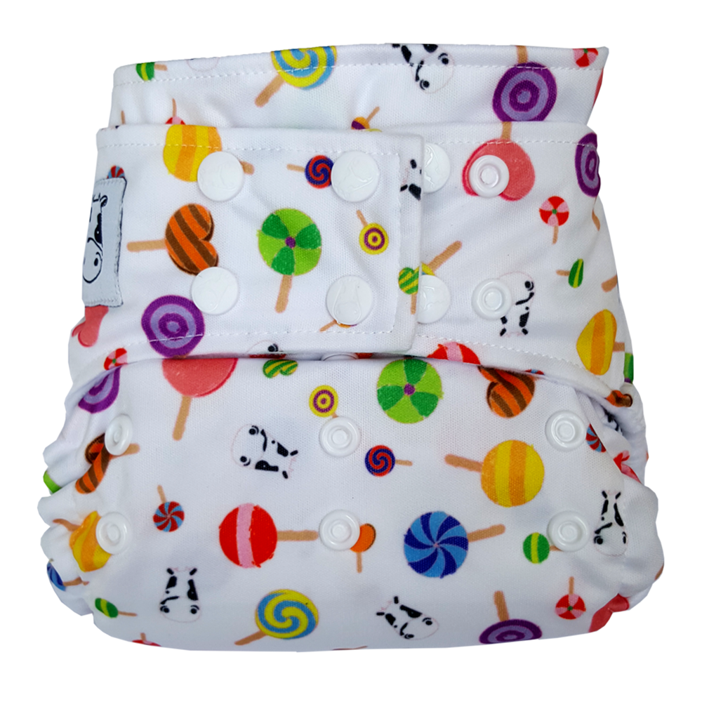 BAMBOO Cloth Diaper One Size Snap - Lollipop