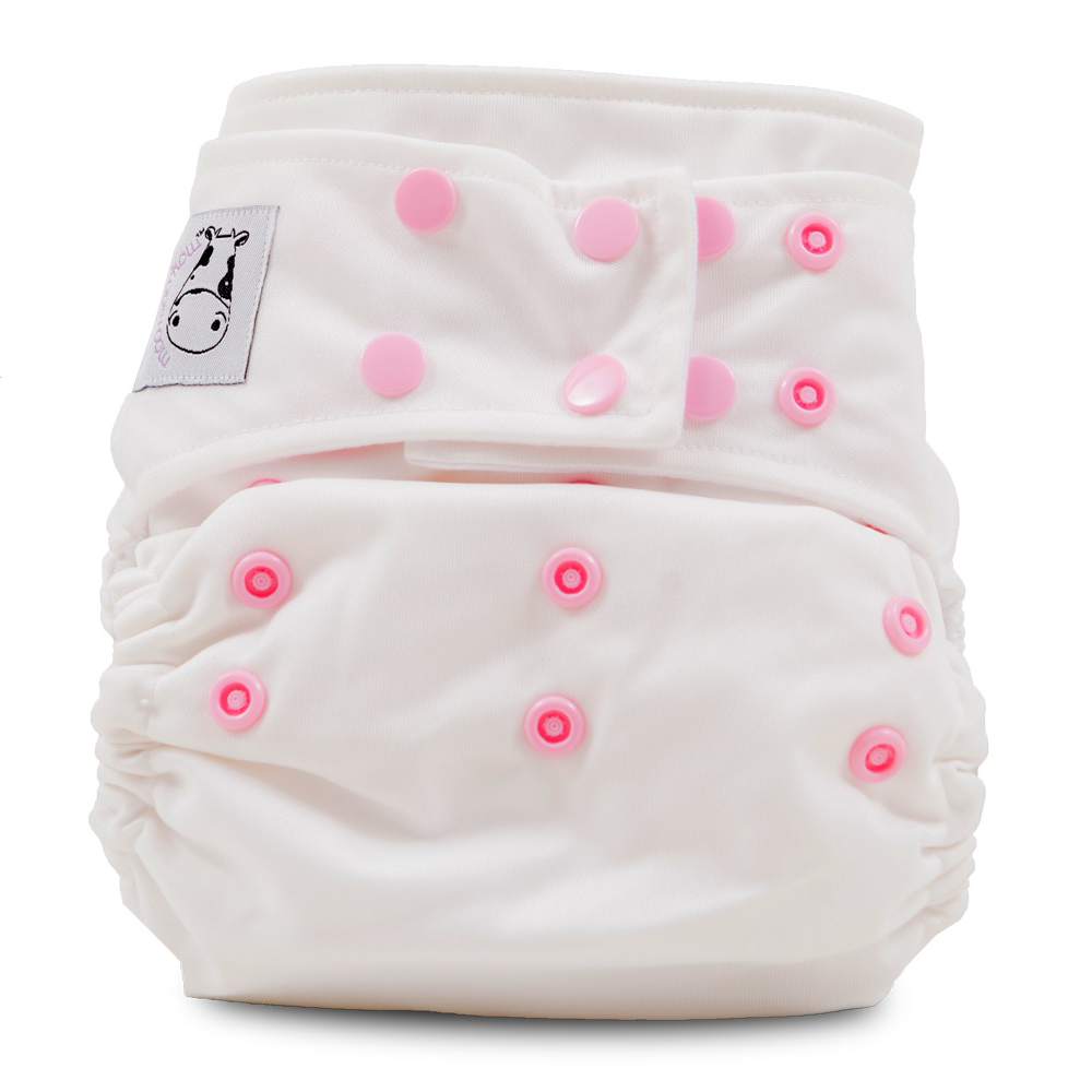 Cloth Diaper One Size Snap - White Pink Button