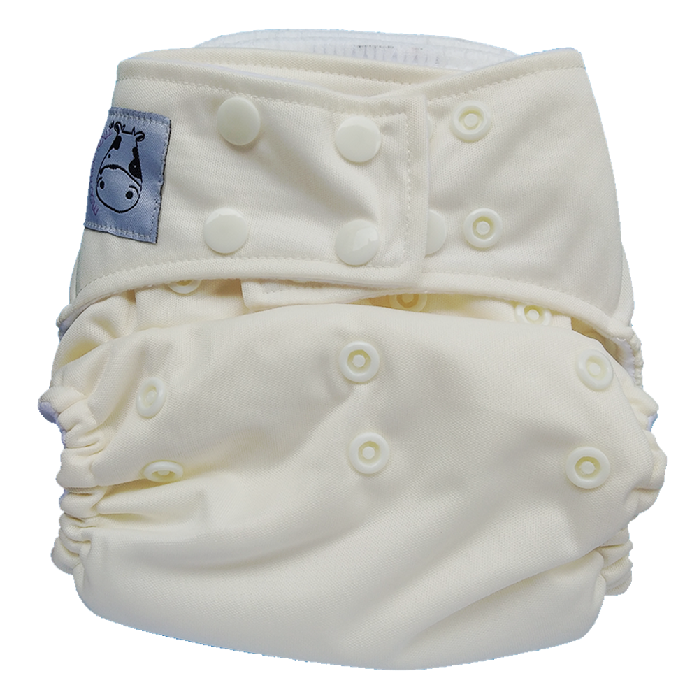 Cloth Diaper One Size Snap - White