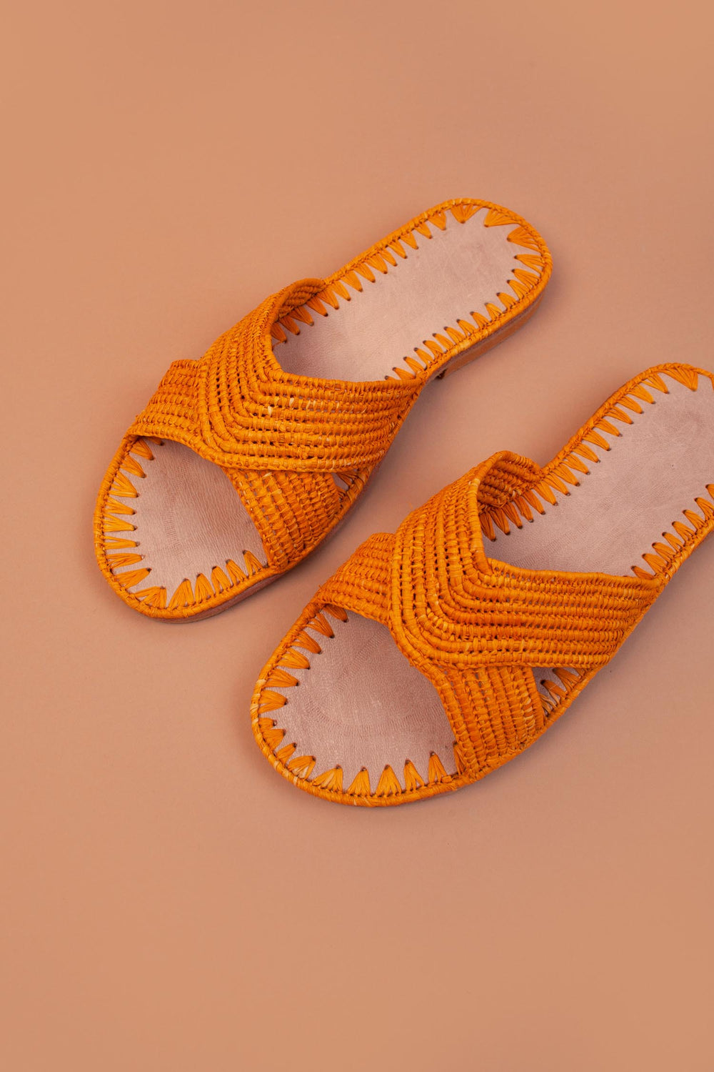 Raffia Cross Strap Sandals
