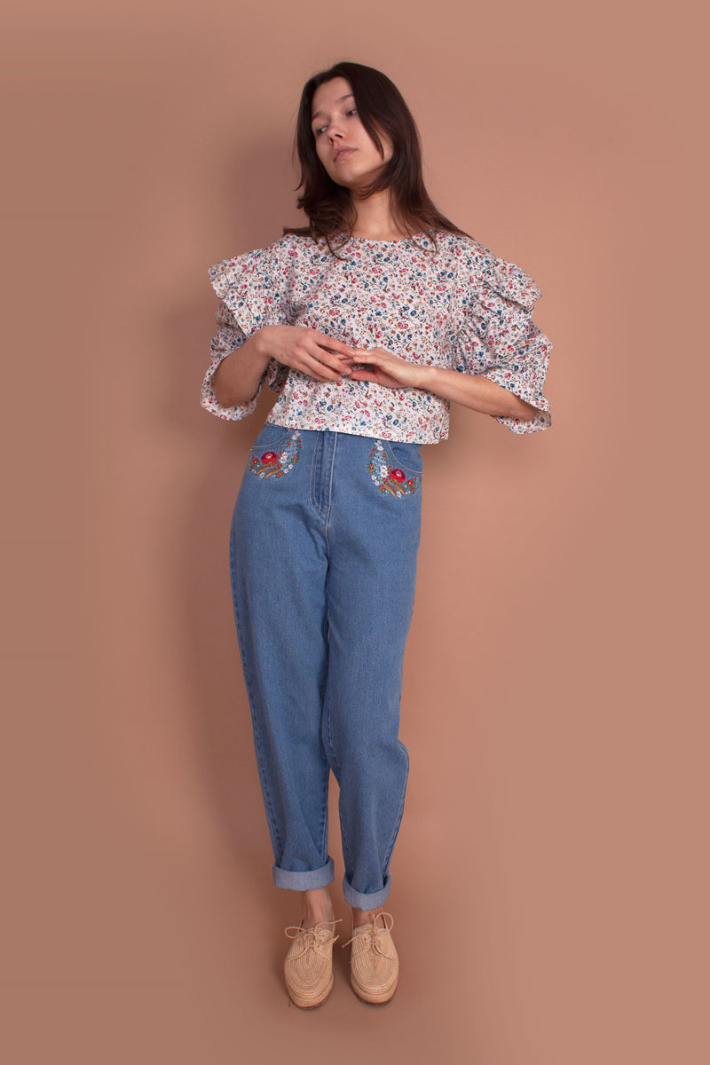 Begonia Jeans Multi Embroidery