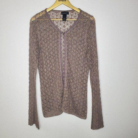 Lane Bryant Pewter Gold Single Button Cardigan