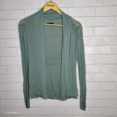 Express Sage Green Crocheted Knit Open Front Cardigan