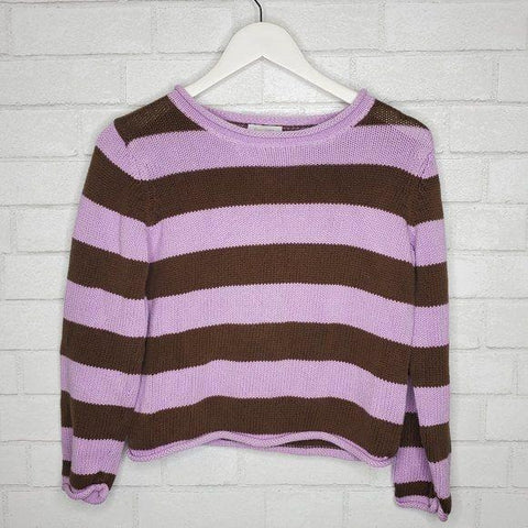 Garnet Hill Pink Brown Striped Cropped Sweater