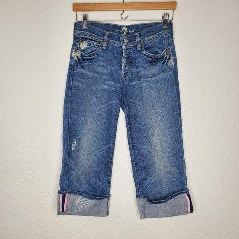 7 For All Mankind 7FAM Button Fly Stripe Trim Cropped Jeans