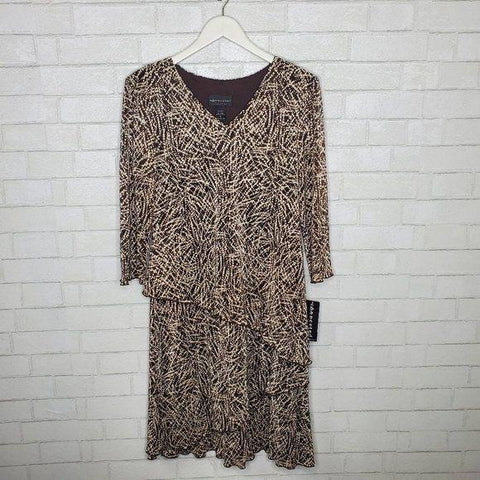 Connected Brown Tan Graphic Print Long Sleeve Dress