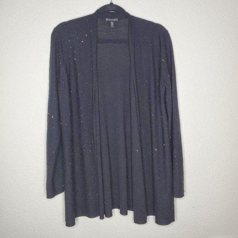 Eileen Fisher Black Sparkle Wool Open Cardigan
