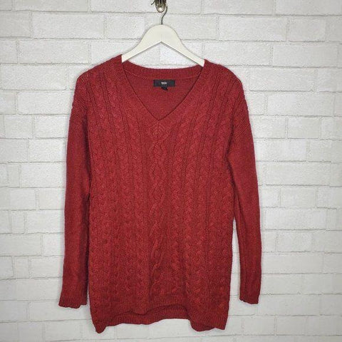 Mossimo Classic Red V Neck Cable Knit Sweater