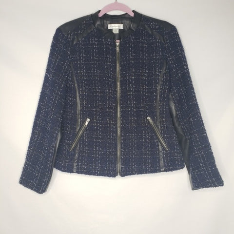 Christopher & Banks Blue Black Tweed Moto Jacket
