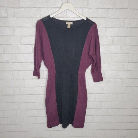 Ann Taylor LOFT Purple Black Color Block Illusion Dress