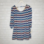 Speechless White Blue Chevron Stripe Long Sleeve Dress