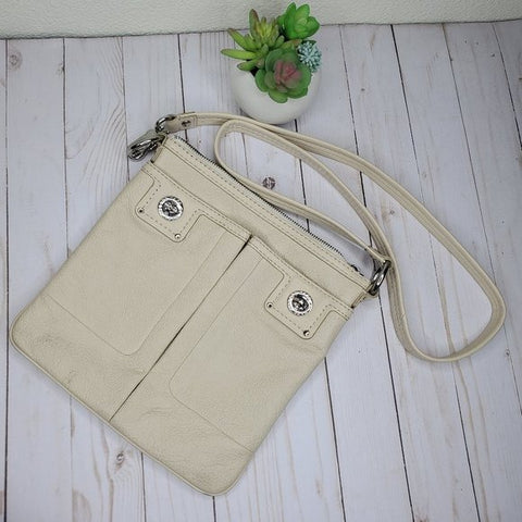 Marc by Marc Jacobs Cream Beige Leather Turnlock Crossbody