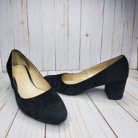 Cole Haan Grand Os Black Suede Block Heel Pumps