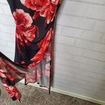 Venus Red Black Lace Floral Side-Slit Maxi Dress