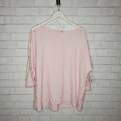Old Navy Light Pink Scoop Neck 3/4 Sleeve Blouse