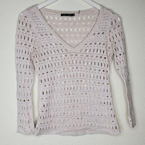 Antropologie Nic + Zoe Cream Cutout Sweater