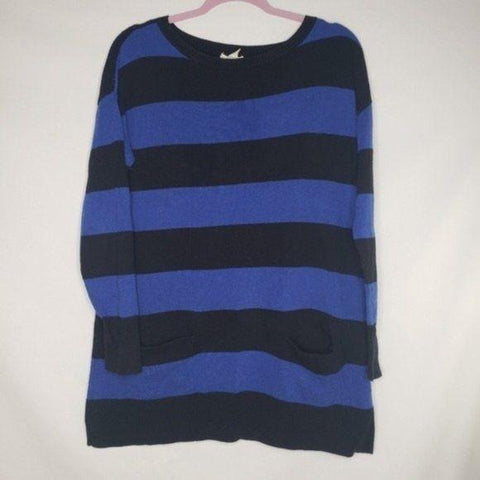 Nordstrom Caslon Black Blue Striped Tunic Sweater
