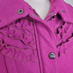 Steve Madden Magenta Ruffled Military Jacket