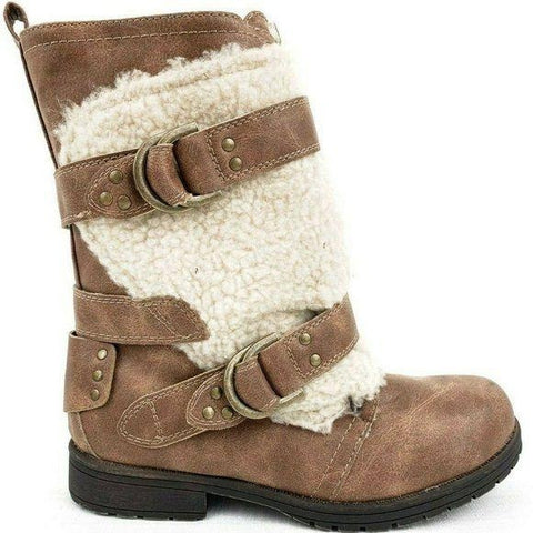 Sugar Julissa Cognac Fleece Accent Buckle Boots