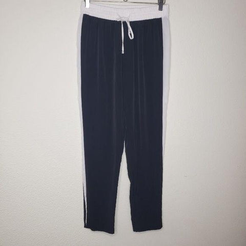 Calvin Klein Black White Striped Satin Track Joggers