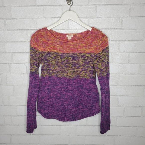 Mossimo Purple Orange Multicolor Marled Cropped Sweater