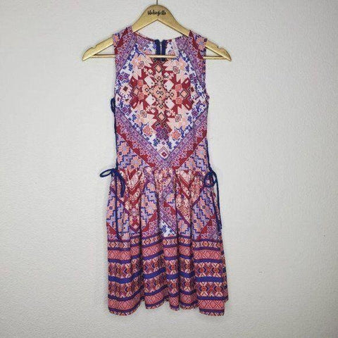 Xhilaration Pink Blue Boho Sleeveless Dress