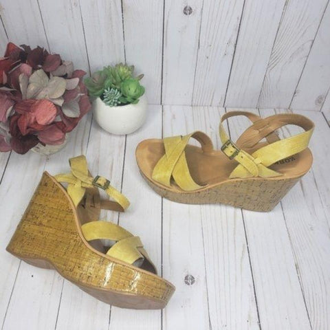 Kork-Ease Yellow Leather Platform Wedge Sandals