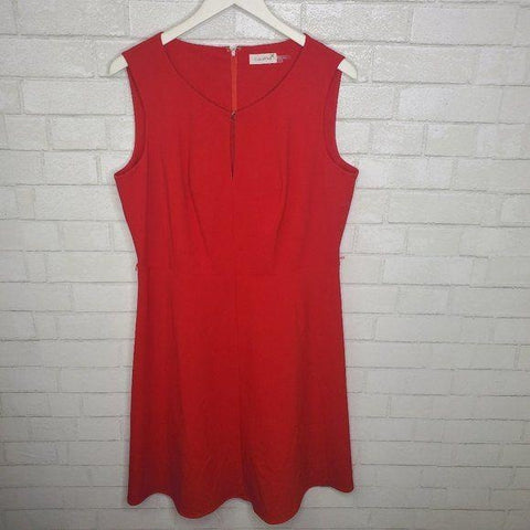 Calvin Klein Red V Neck Fitted A Line Dress