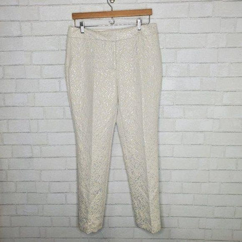 Ann Taylor Ivory Silver Embossed Floral Dress Pants