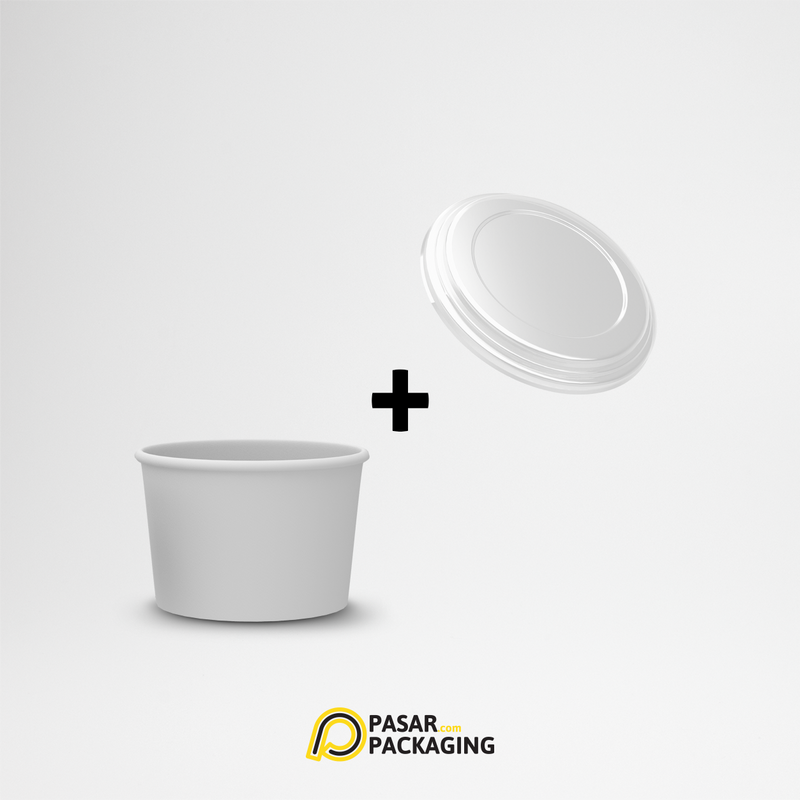 4oz Ice Cream Paper Cup + Lid - Pasar Packaging