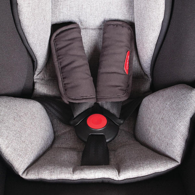 phil&teds alpha car seat close up view of 5 point safety harness with comfortbale infant seat liner and shoulder padding _black/grey marl