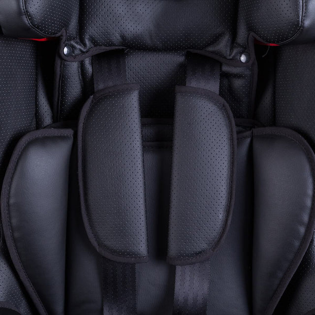 phil&teds columbus car seat close up of harness and breathable leather fabric_black