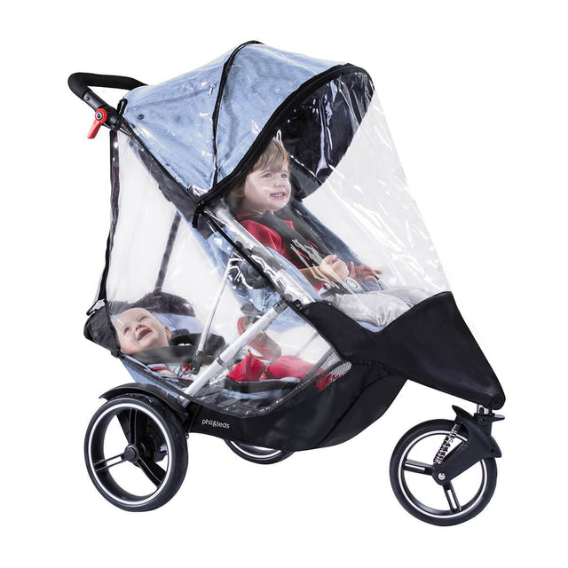 phil&teds dash storm cover in double mode with child in main seat & double kit 3/4 view_default