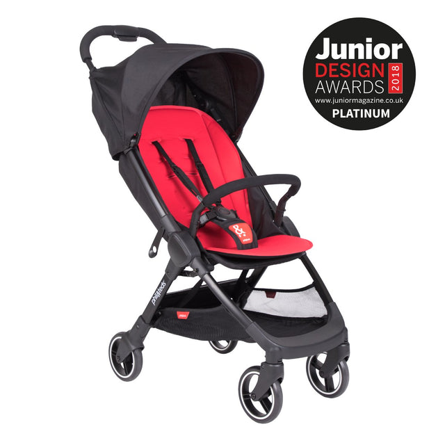 phil&teds go buggy v1 award winning compact lightweight stroller in cherry red 3qtr view_cherry