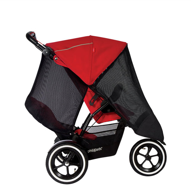 phil&teds sport with auto stop brake and double kit fitted with single and double kit sun mesh cover side view_cherry