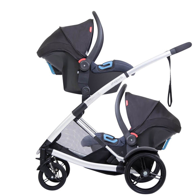 phil&teds promenade buggy fitted with 2 alpha car seats side view_black