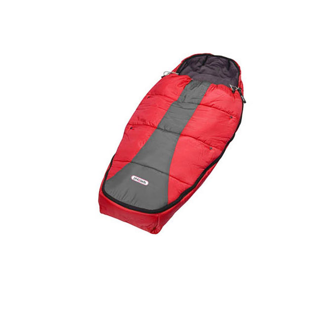 phil&teds snuggle & snooze sleeping bag in red & charcoal 3/4 view_red & grey