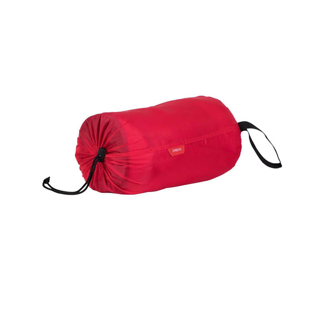 phil&teds snuggle & snooze sleeping bag in red compactly packed 3/4 view_red