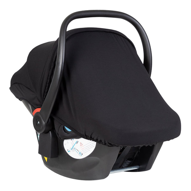 alpha™ infant car seat with the included UPF50 sun protection black out screen covering the car seat leaving the carry handle handy for moving your baby_black/grey marl