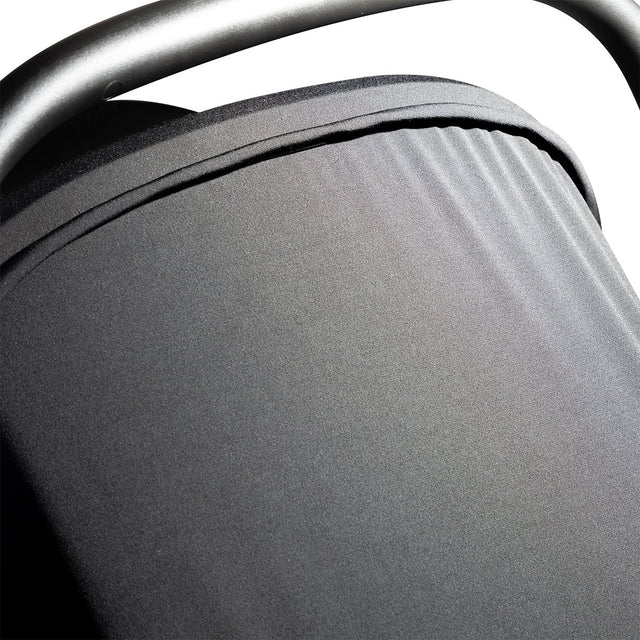 alpha™ infant car seat top view showing close up of the soft blackout UPF50+ fabric sun cover in place_black/grey marl
