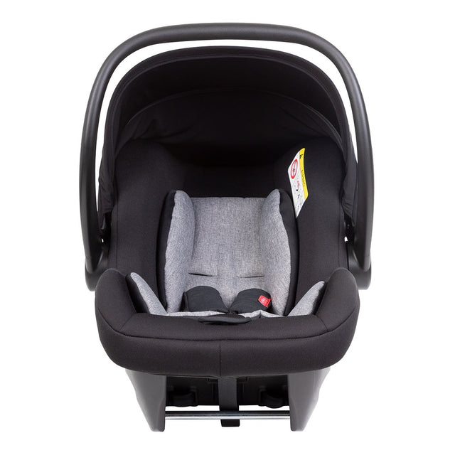 alpha™ infant car seat shown from the front, with handle in the upright carrying position, showing the cushioning grey marl liner_black/grey marl