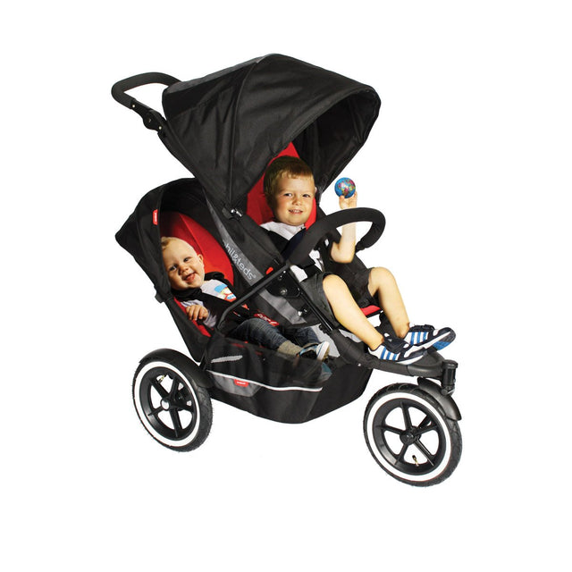 phil&teds explorer stroller with double kit and kids 3qtr view_black