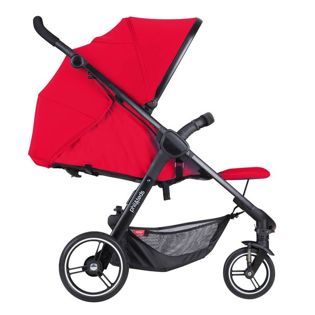 phil&teds smart stroller v3 cherry red lightweight travel lie flat position side view_cherry