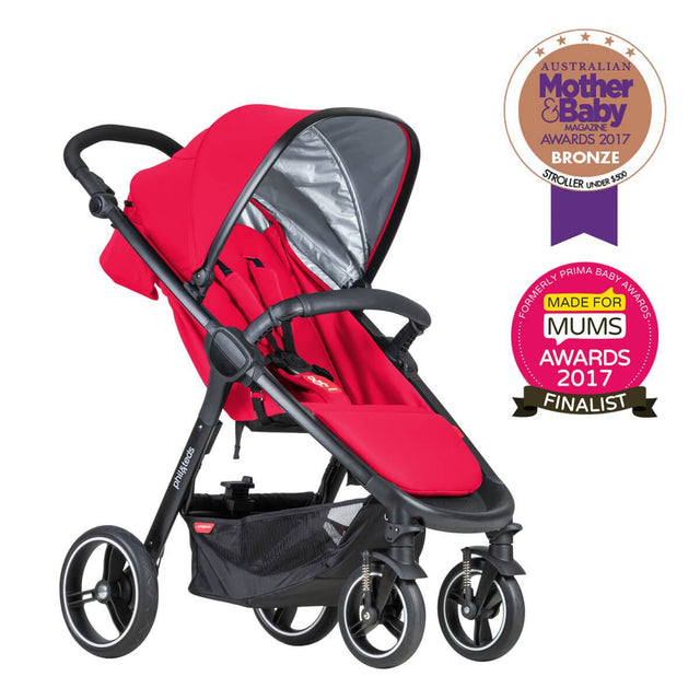 phil&teds smart stroller v3 cherry red lightweight travel mother and baby award winner 3qtr view_cherry