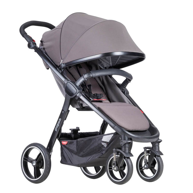 phil&teds smart stroller v3 graphite grey lightweight stroller with extended sunhood 3qtr view_graphite