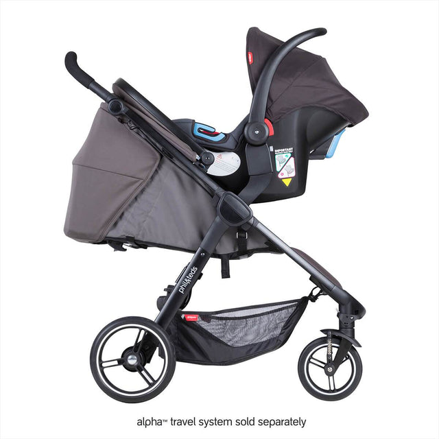 phil&teds smart stroller v3 graphite grey with alpha carseat side view_graphite
