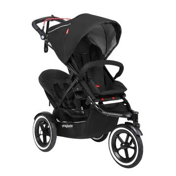 phil&teds sport inline all terrain with auto stop stroller with double kit in black 3 qtr view_black