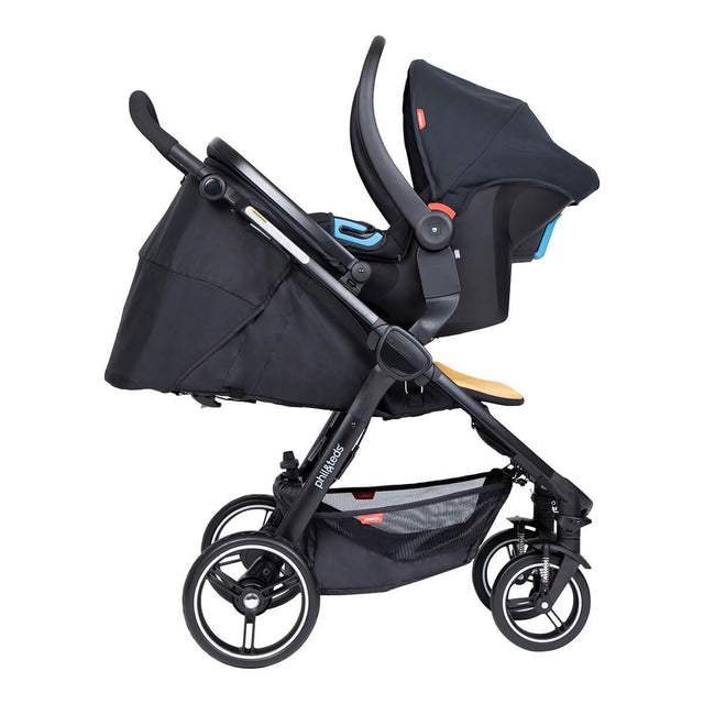 phil&teds compact smart buggy with alpha travel system side view_charcoal